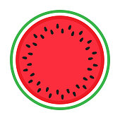 Watermelon colorful icon isolated on white. Circle red green watermelon illustration vector EPS.