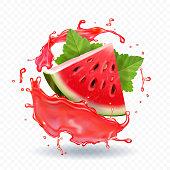 Watermelon in juice vector realistic icon illustration.