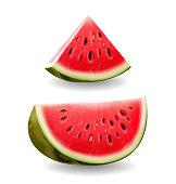 Watermelon realistic slice icon illustration, vector isolated