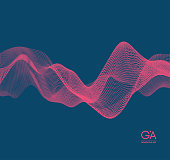 Wave background. Abstract vector illustration. 3d technology style. Illustration with dots. Network design with particle.