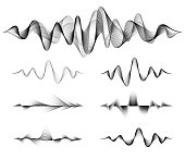 Wave sound vector set. Music soundwave design, black isolated on white background. Radio frequency lines and dots.