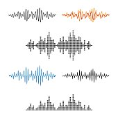 Waveform Shape. Soundwave. Audio Wave Graph Set. Vector.
