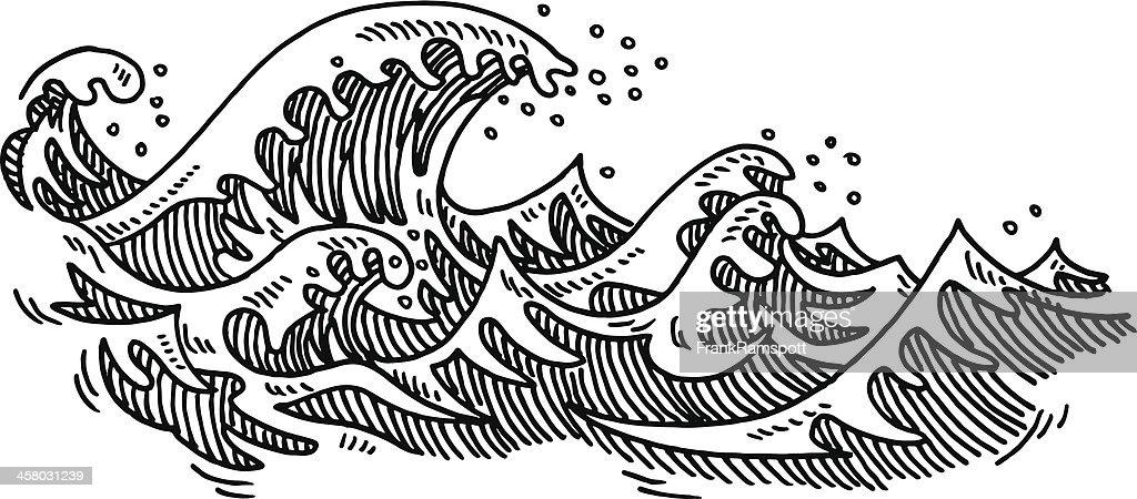 Line Art Waves : Dessin des vagues de locéan clipart vectoriel getty images