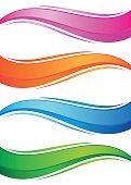 Waves of colorful banners set. Isolated objects on a white background, vector illustration