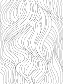 Abstract wavy background. Monochrome pattern with waves or hair. Black and white vector illustration. Can be used for coloring book, prints.