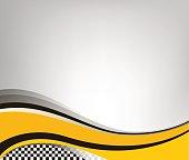 Waving checkered flag grey background, vector illustration