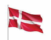 Waving flag of Denmark state. Illustration of European country flag on flagpole. Vector 3d icon isolated on white background