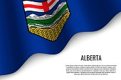 waving flag of Alberta is a region of Canada on transparent background. Template for banner or poster.