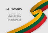 waving flag of Lithuania. Template for independence day. vector illustration