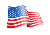 Waving USA flag on white background. Vector illustration