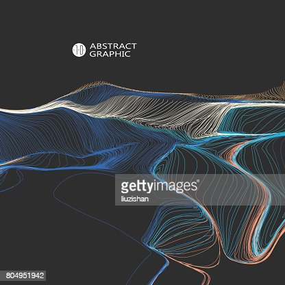 Wavy abstract graphic design, vector background. : stock vector