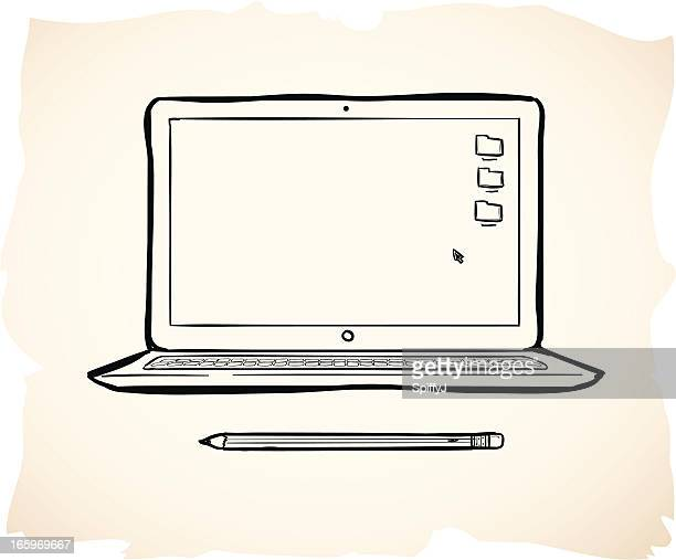 Wavy illustration of pencil and laptop over pink