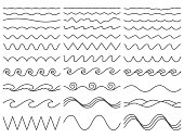 Wavy lines. Wiggly border, curved sea wave and seamless billowing ocean waves. Wiggle parallel waves, squiggle horizontal wave border. Vector illustration isolated icons set