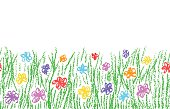 Seamless kid`s drawn background banner. Vector pastel chalk copyspace design element.