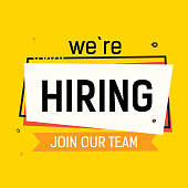 We are hiring, join our team lettering with abstract Cadre on yellow back. Inscription can be used for announcements, leaflets, posters, banners.