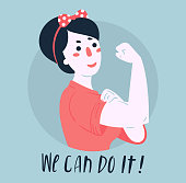 We Can Do It poster. Strong girl. Classical american symbol of female power, woman rights, protest, feminism. Vector colorful hand drawn woman in retro comic style. Empowerment concept