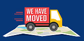 We have moved, changed address navigation, flat illustration vector , We have moved