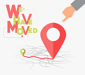 We have moved, changed address navigation flat illustration