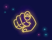 We want you human hand with the finger pointing or gesturing towards you in neon light style isolated on dark purple background. Bright vector neon illustration light website banner and landing page