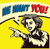 I want you! Retro businesswoman with pointing finger picking candidate for job vacancy, we're hiring sign comic book style vector illustration