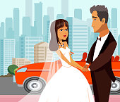 Wealthy Just Married, Newlyweds Flat Illustration. Young Wife and Elderly Husband. Bride Cartoon Character. Millionaire, Rich Groom Isolated Drawing. Age Gap, Vector Clipart. Expensive Car, City