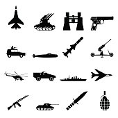 16 weapon simple black icons set isolated on a white