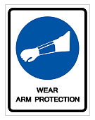 Wear Arm Protection Symbol Sign ,Vector Illustration, Isolate On White Background Label. EPS10