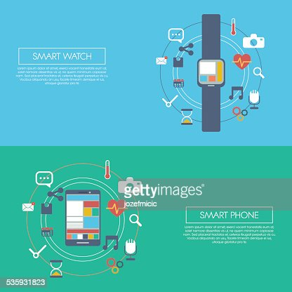 Wearable smart technology infographics template with smartwatch and smartphone. Applications : Vector Art