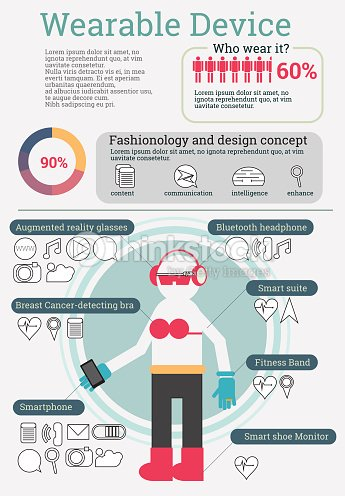 wearable technology infographics with data and icon vector illus