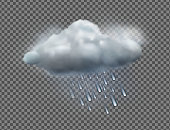 Vector illustration of cool single weather icon with raincloud and raindrops isolated on transparent background