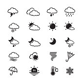 Weather icon, set of 16 editable filled, simple clearly defined shapes in one color.