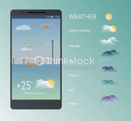 Weather icons and their use in mobile phone. Partly cloudy. Vector