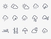 Set of 15 weather icons. Thin lines