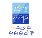 Vector Illustration of weather widget in flat style
