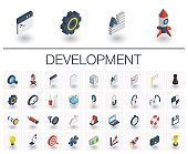 Isometric flat icon set. 3d vector colorful illustration with web and app development symbols. Digital network technology, coding, application, program data colorful pictogram Isolated on white