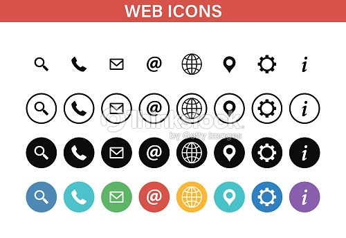 Web and Contact icons set. Vector illustration. : stock vector