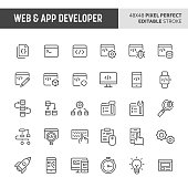 30 thin line icons associated with web & app developer. Symbols such as code editor, IDE,  and other programming related items are included in this set. 48x48 pixel perfect vector icon & editable vect