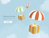 Packages are flying on parachutes.Flat elements isolated vector illustration