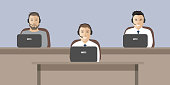 Web banner of call center workers. Technical support service. Young men in headphones sitting at the table. It can be used for websites. Vector illustration.