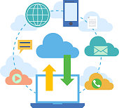 Web banners for cloud computing services and technology, data storage. Concepts for web design, marketing, and graphic design. Vector illustration