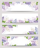 Vector web banners with purple, pink, blue and white lilac flowers.