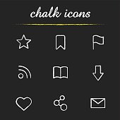 Web browser chalk icons set. Vector