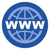 Illustration of web circle blue icon