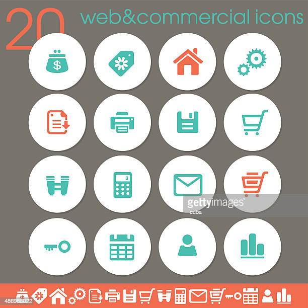 Web & Commercial icons | white circles collection