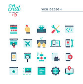 Web design, coding, responsive, app development and more, flat icons set, vector illustration