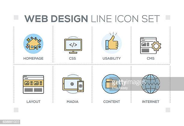 Web Design keywords with line icons
