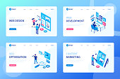 Web development process concept. Can use for web banner, infographics, hero images. Flat isometric vector illustration isolated on white background.