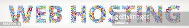 Web Hosting Future and Futuristic Technology Vector Buttons.