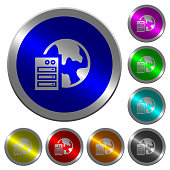 Web hosting icons on round luminous coin-like color steel buttons