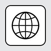 Web icon. Globe symbol, outline design. Vector illustration